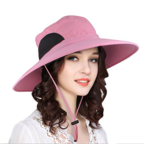 EINSKEY Womens Sun Hat, Waterproof Wide Brim Bucket Hat Mesh Boonie Fishing (Brim Bucket Hat)