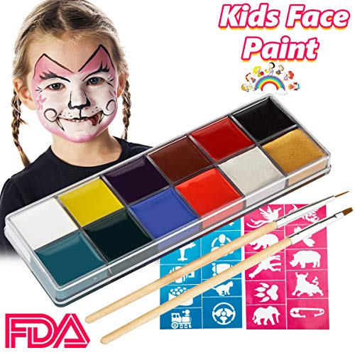 Face Paint for Kids,Non Toxic FDA Compliant Washable Face Painting Professional Kit 12 Color Body Paint and Face Paint Palette for Halloween,Costume Makeup,Dress Up America with Free Brush and Stencil