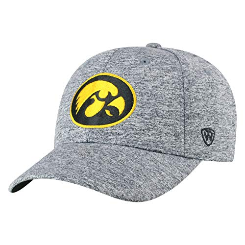Hawkeyes Iowa Ncaa (Top of the World NCAA Iowa Hawkeyes Men's Adjustable Steam Charcoal Icon Hat, Grey)