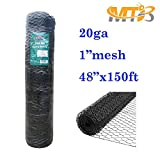 MTB Black PVC Hexagonal Poultry Netting, Chicken Wire 48''x150'-1'' 20GA (Also Sold in 25'/50'Length)
