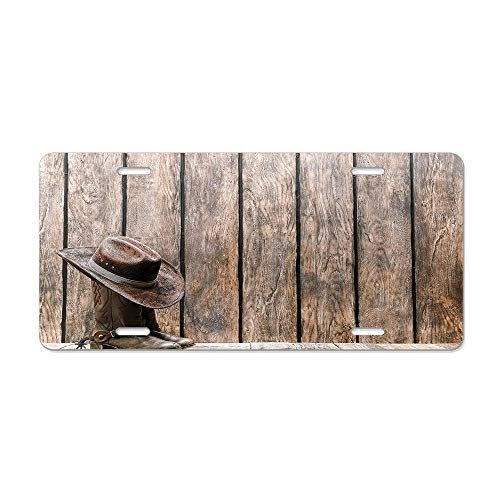 (Wild West Boots in Wooden Room Folkloric Old Fashioned Wild Sports Theme Image License Plate Cover Aluminum Car Tag Cover License Tag Holder License Plate Frame For US Vehicles Standard)