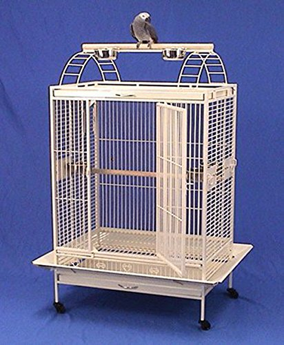 XX Large Double Ladders Open PlayTop Wrought Iron Bird Parrot Cage, 40''x30''x71''H, Extra Strong 6mm Wire, Egg Shell White by Mcage