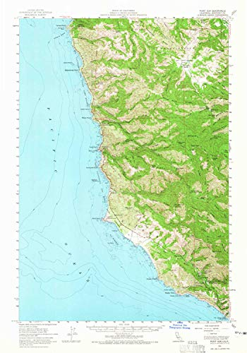 YellowMaps Point Sur CA topo map, 1:62500 Scale, 15 X 15 Minute, Historical, 1956, Updated 1965, 23.8 x 16.7 in - ()