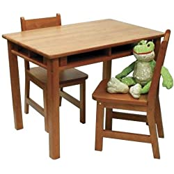 Lipper International 534P Child's Rectangular Table with Shelves and 2 Chairs, Pecan Finish
