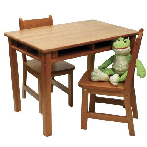 Lipper International 534P Child's Rectangular Table with Shelves and 2 Chairs, Pecan Finish (Set Desk Pecan)