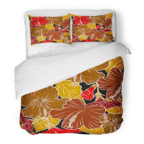 SanChic Duvet Cover Set Summer Interior Tropical Hibiscus on Black in Red Brown Yellow Colors Exotic Flowers Allover Decorative Bedding Set 2 Pillow Shams King Size by SanChic