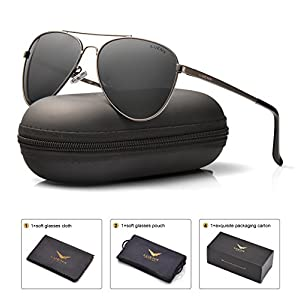 LUENX Men Women Aviator Sunglasses Polarized Non-Mirror Grey Lens Gun Metal Frame with Acces sories UV 400 Protection 60MM