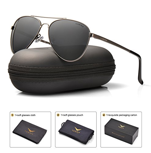 Gunmetal Frame Grey Polarized Lens (LUENX Men Women Aviator Sunglasses Polarized Non-Mirror Grey Lens Gun Metal Frame with Acces sories UV 400 Protection 60MM)