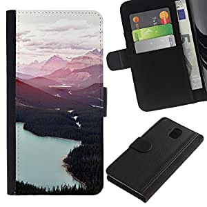 KingStore / Leather Etui en cuir / Samsung Galaxy Note 3 III / Forest Lakes Nubes Árboles;