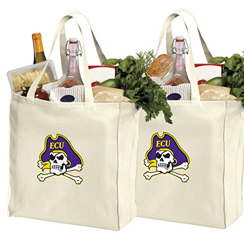 Reusable East Carolina University Shopping Bags or ECU Grocery Bag 2Pc Set Natural Cotton