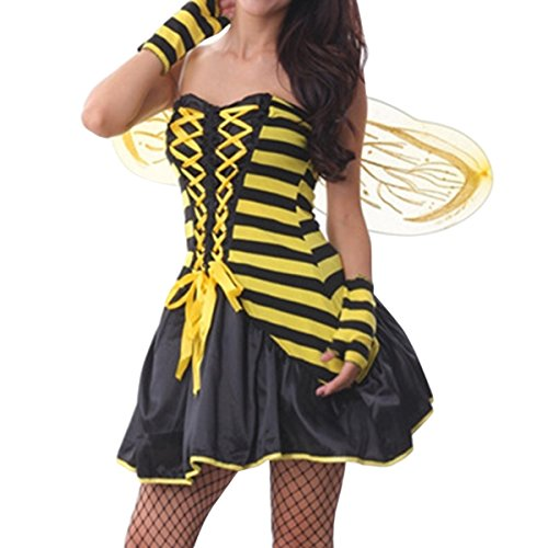 Quesera Women's Deluxe Bee Costume Adult Sexy Daisy Bee Halloween Dress with Wings,Yellow,One size fits US size 4-8 (Queen Bee Costumes Accessories)