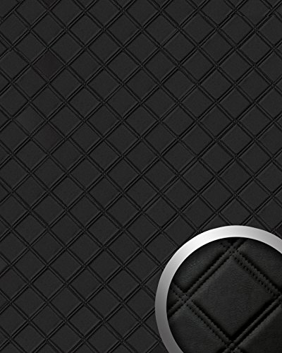 WallFace 15030 ROMBO Wall panel leather square 3D interior decor luxury wallcovering self-adhesive black   2,60 sqm by Wallface (Image #1)