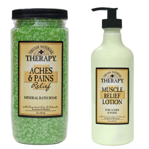 (Village Naturals Muscle Aches and Pains Relief Lotion and Mineral Bath Soak Combo)