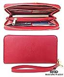 RFID Blocking Wallet Classic Clutch Leather Wallet Card Holder Purse Handbag,red
