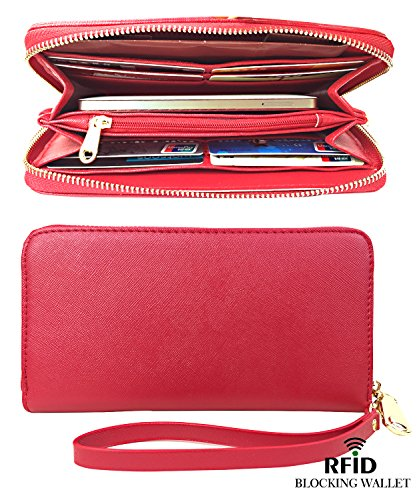 RFID Blocking Wallet Classic Clutch Leather Wallet Card Holder Purse Handbag,red by RFID Blocking Wallet