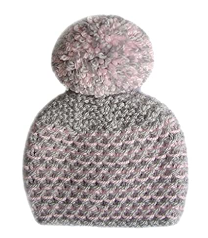 Luz gris rosa mano de punto bebé niña – Gorro pompón – prematuro para recién 8e762cc0587