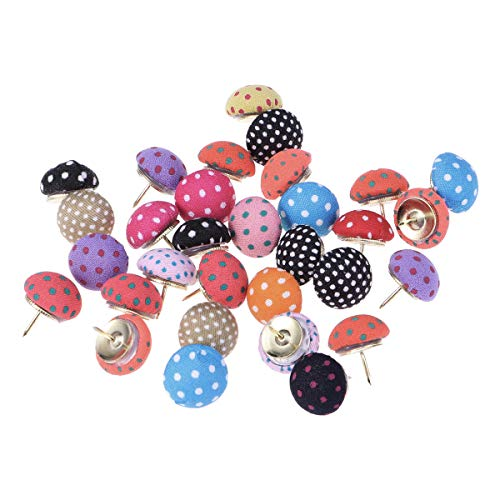 NUOLUX 30pcs Cute Push Pins Polka Dots Mushroom Shape Pushpin Decorative DIY Tool for School Home and Office Use (Random Color)