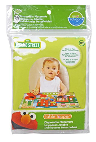 Neat Solutions Sesame Street Table Topper Disposable Stick-in-Place Placemats - 30 Count