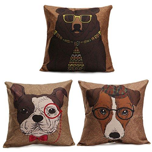 Cartoon Dog Cotton Linen Pillow Case Sofa Waist