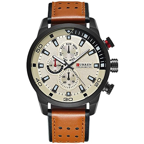 CURREN Original Brand Men's Sports Waterproof Leather Strap Wrist Watch 8250 Brown Beige
