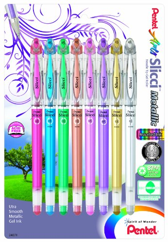 (Pentel Arts Slicci Metallic 0.8 mm Needle Tip Gel Pen, Assorted Colors, 8 Pack (BG208BP8M))