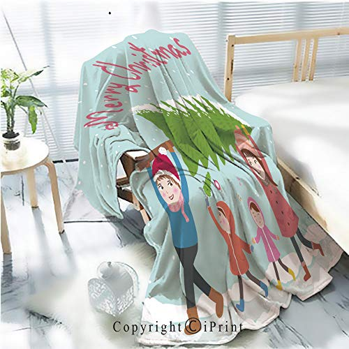 (Printed Soft Blanket Premium Blanket,Cute Family Carries Christmas Tree Vector Illustration Microfiber Aqua Blanket for Couch Bed Living Room,W59.1 xH78.7)