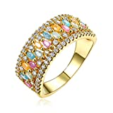 Beydodo Gold Plated Wedding Rings Jewelry Size 7 Iced Out Ring Marquise & Round Cut Cubic Zirconia