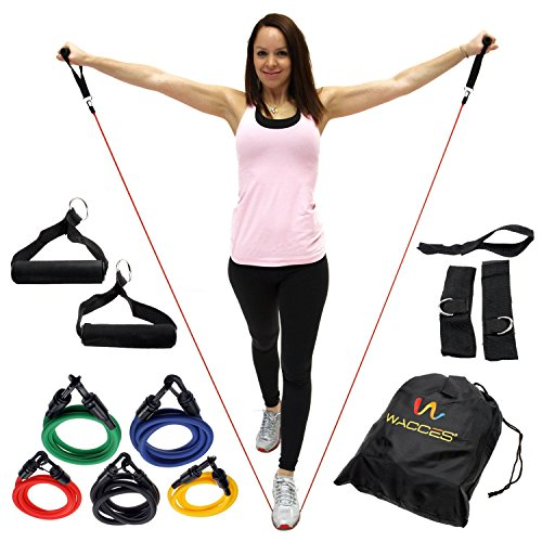 Wacces Resistance Band Set With Door Anchor Ankle Strap
