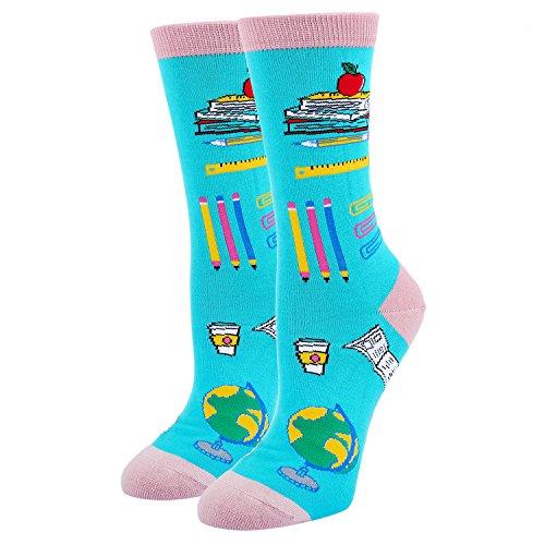 (Women's Crazy Funny School Crew Socks, Novelty Book Lover Teacher Dress Socks in Blue)