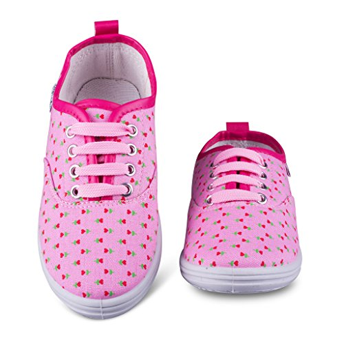 [C144-PINK-T7] Girls Canvas Sneakers - Lace Up Tennis Shoes, Toddler Size (Lace Up Lined Sneakers)