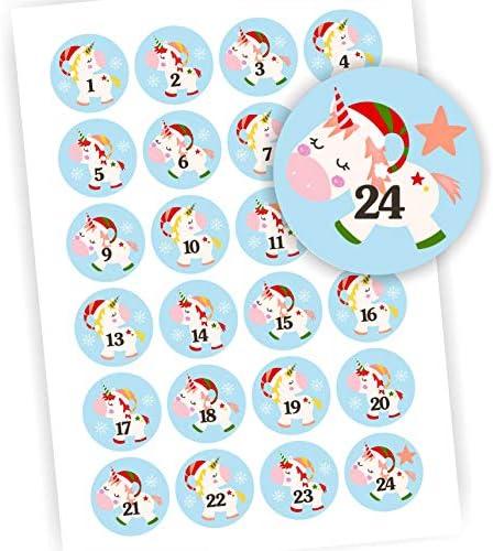 Play-Too 24 Aufkleber Adventskalender Zahlen Fest Weihnachten Einhorn blau Aufkleber Sticker