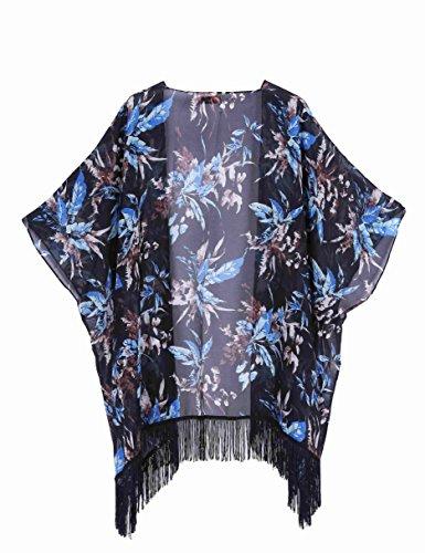 kimono Donna azteco Capo Nero Casual Aperti Fiori Cardigan Grande Estate wqFtqS