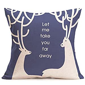 "Christmas Deer Pillow Case Sofa Waist Throw decorative Cushion Cover Home Decor u6817 Throw Pillow Cover 20""x20""(One Side)"