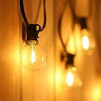 Guirnalda Luces LED, Tomshine 6.5m/21.33ft Cadena de Luz, G40 Guirnaldas luminosas de Exterior con 12 Blanco Cálido LED Bombillas,para Jardín Trasero Fiesta Navidad (1 LED Bombilla de Repuesto)