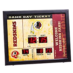 Team Sports America Bluetooth Scoreboard Wall Clock Washington Redskins, Team Color, 23