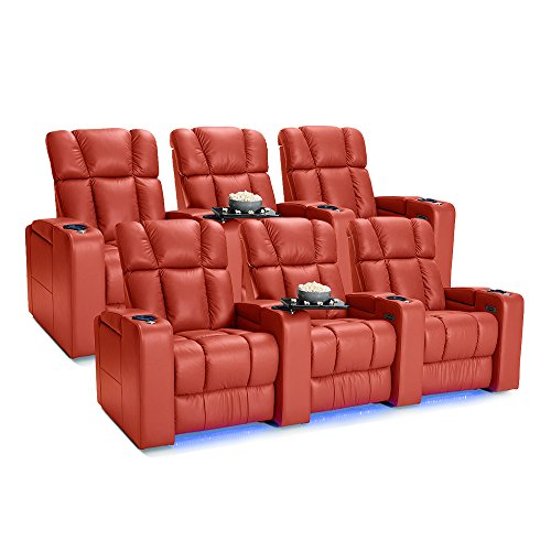 (Palliser Collingwood Leather Home Theater Seating Power Recline with Adjustable Powered Headrests, Two Rows of 3,)