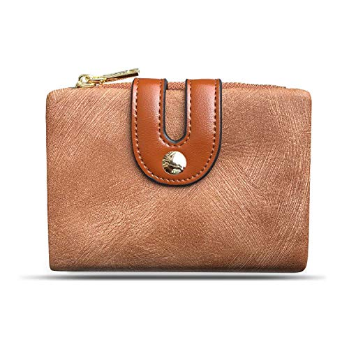 Brown Billfold - Womens Wallets Small Rfid Ladies Bifold Wallet With Zipper Coin Pocket,Mini Purse Soft Compact Thin (Brown)