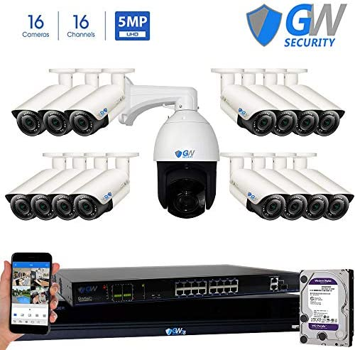 GW Security 16 Channel HD 1920p Security System with 8TB HDD, 15 HD 5MP 1920p 2.8-12mm Varifocal Outdoor Indoor PoE IP Cameras, and 1 20X Zoom 4MP 1520p IP PTZ Camera