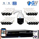 GW Security 16 Channel 4MP HD 1520p H.264 Security System with 2TB HDD, 15 HD 4MP 1520p 2.8-11mm Varifocal Outdoor Indoor PoE IP Cameras, and 1 10X Zoom 4MP 1520p IP PTZ Camera