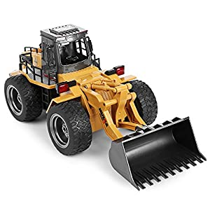 Alloy RC Bulldozer Toy, 1:18 Scale 2.4G Hz 6CH Remote Control Truck Construction Vehicle Caterpillar Car Christmas Birthday Gifts for Kids Child Boys Girls