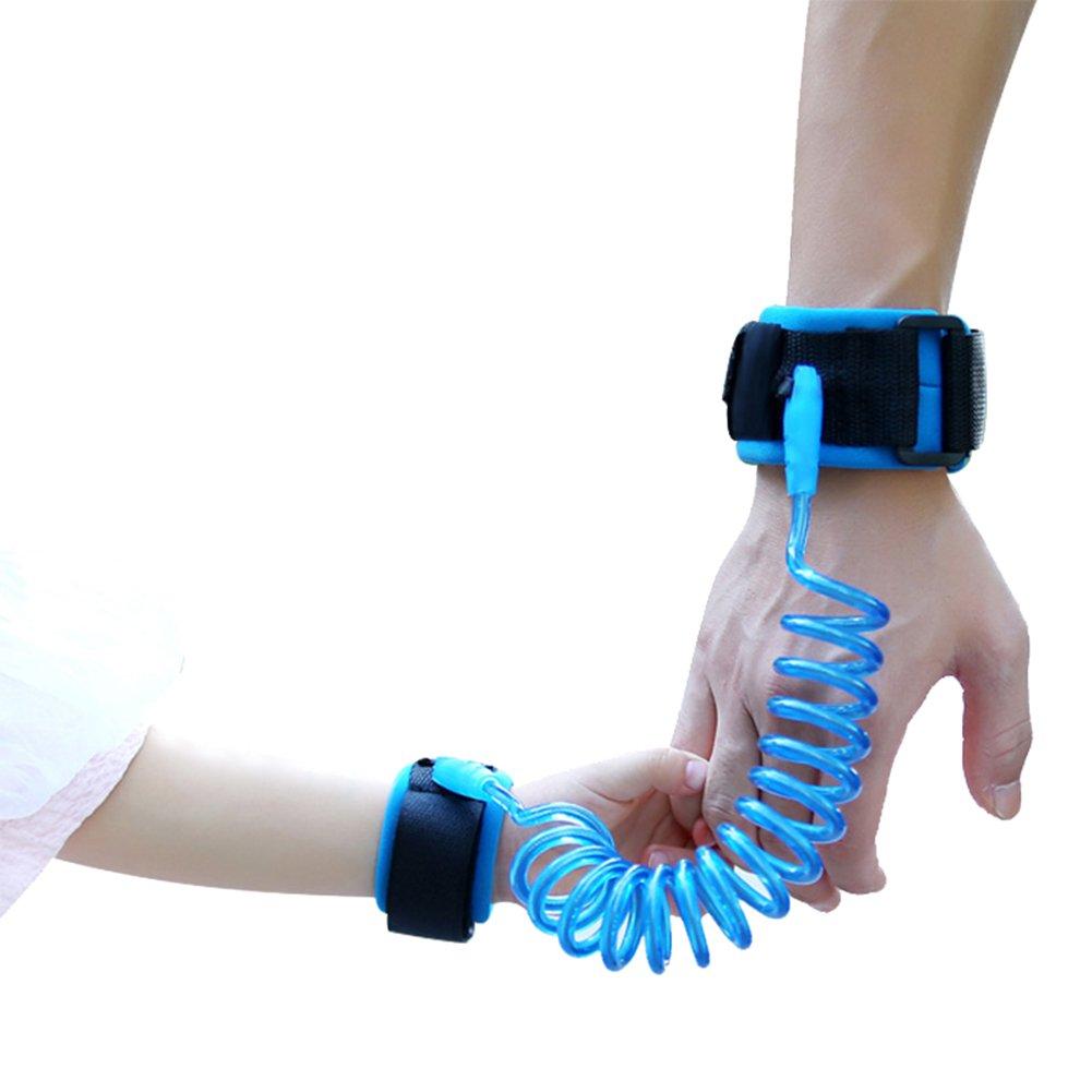 LAAT: Pulseras de seguridad para prevenir perder a los niños o bebés, con enlace y arnés de seguridad, color naranja y azul