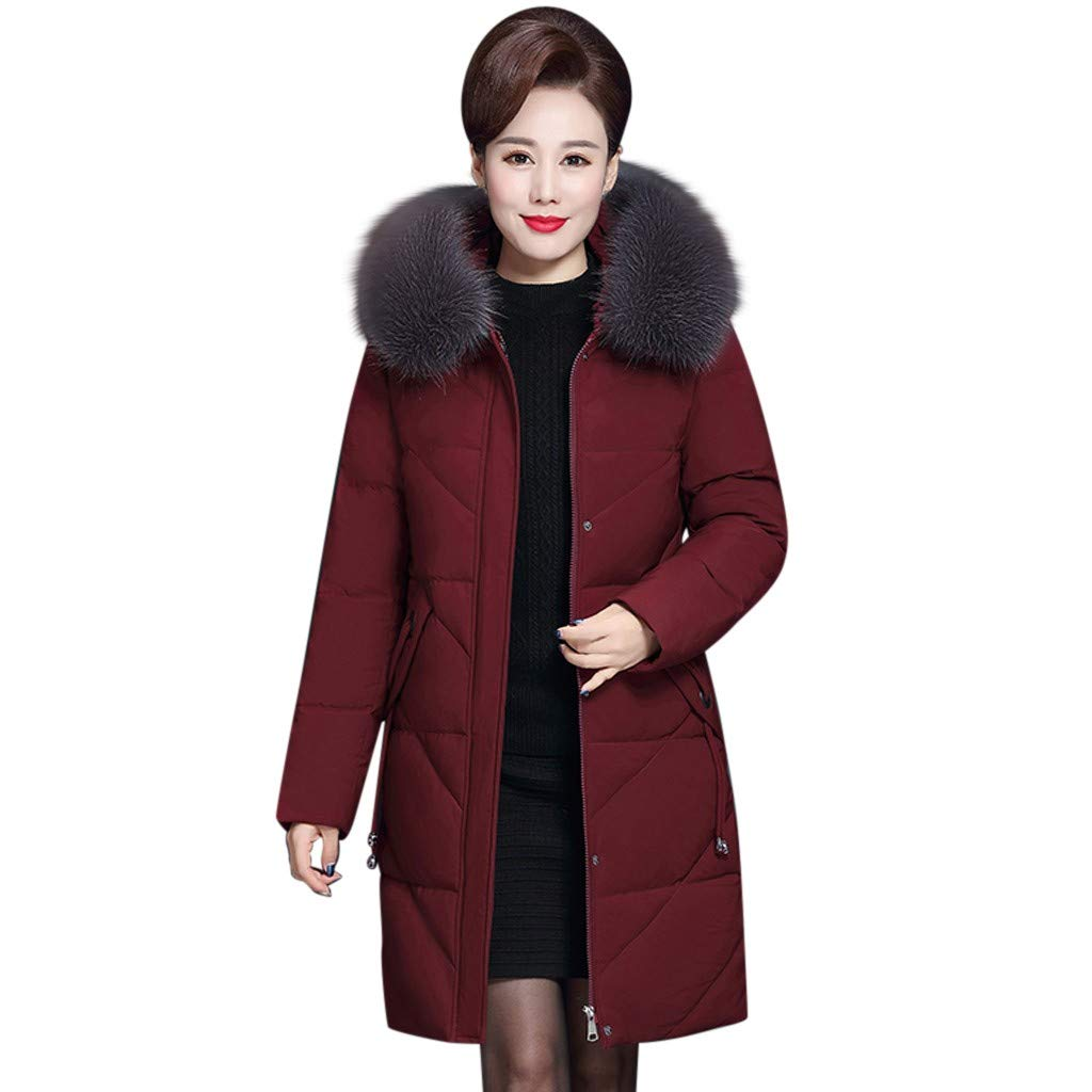 Wenini Women Lady Solid Winter Warm Coat Middle-Aged Fur Hooded Long Thick Jacket Coat Outwear XL-7XL by Wenini Women Coat