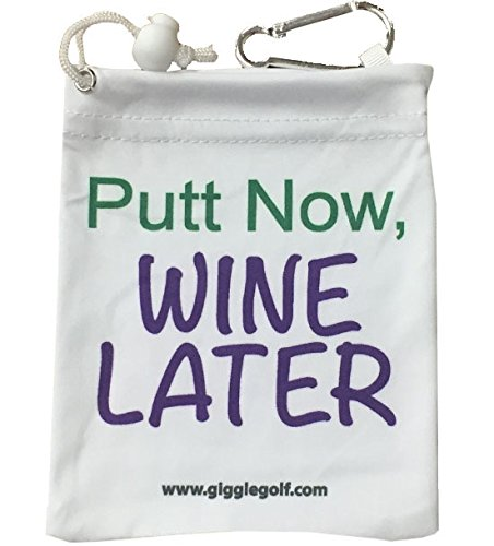 Giggle Golf Microfiber Putt Now Wine Later Tee Bag with Four Wood Tees