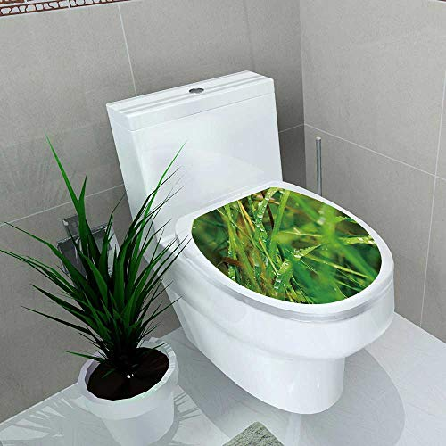 (Auraise-home Waterproof & Removable Stickers Droplets of Dew on The Green Grass Shallow Depth of Field Bathroom Toilet Cover Sticker W13 x L18)