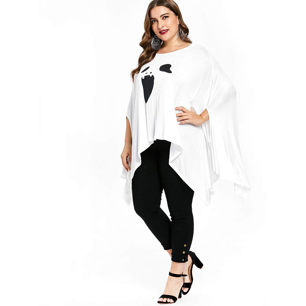 iDeesse Womens Plus Size Halloween Long Sleeve Scoop Neck Ghost Poncho T-Shirt