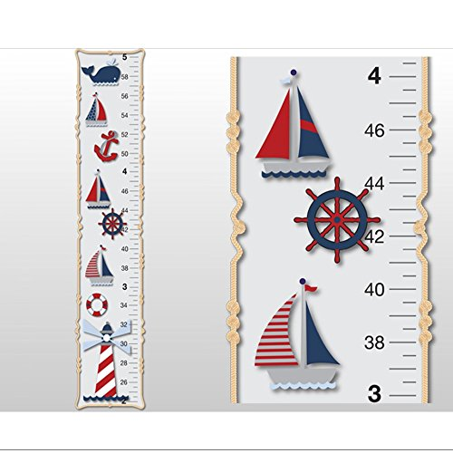 Growth Chart Nautical Ocean Boat Whale Anchor Wall Decals Vinyl Sticker Red White Blue Kid Height Measurement Children Nursery Baby Room Decor Boys Bedroom Decorations Child Measure Growing Babies Art by Bugs-n-Blooms