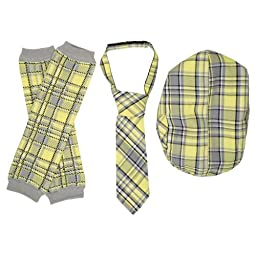 juDanzy Hat, Tie & Leg Warmer Set for Baby & Toddler Boys (1-3 Years, Yellow & Gray)
