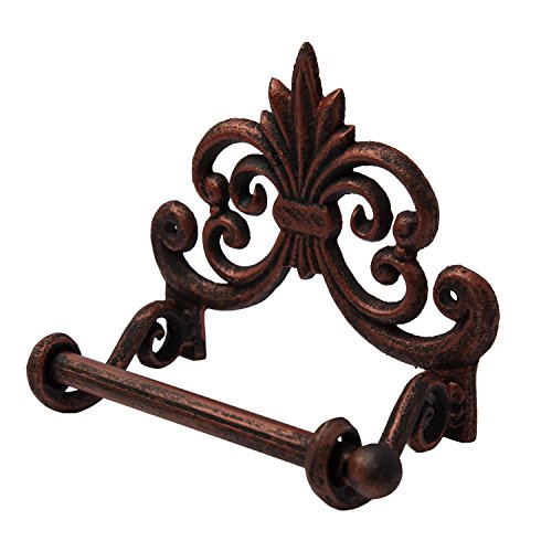 "Comfify Fleur De Lis Cast Iron Toilet Paper Roll holder - Cast Iron Wall Mounted Toilet Tissue Holder - European Vintage Design - 6.75"" x 6.25"" x 4.25"" - With Screws And Anchors by"