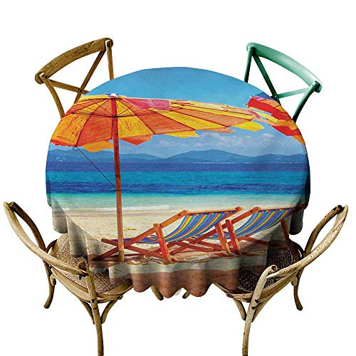 SKDSArts Fabric Tablecloth Seaside,Deck Chairs Overlooking Tropical Sea of Thailand Beach Exotic Holiday Picture,Orange Blue D70,Table Cover for Round Table