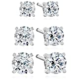 Platinum-Plated Sterling Silver Swarovski Zirconia Stud Earring Set (3/4, 1, and 2 cttw)